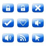 SEO Internet Sign Square Vector Blue Icon Set 4 Stock Photo