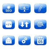 SEO Internet Sign Square Vector Blue Icon Set 6 Stock Photography