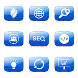 SEO Internet Sign Square Vector Blue Icon Set 2 Royalty Free Stock Image