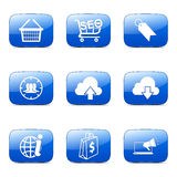 SEO Internet Sign Square Vector Blue Icon Set 7 Royalty Free Stock Photos