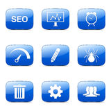 SEO Internet Sign Square Vector Blue Icon Set 8 Royalty Free Stock Photos