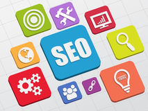SEO and internet signs in flat blocks Stock Photos