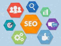 SEO and internet signs in grunge flat design hexagons Stock Image