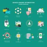 Seo interneta marketingowe ikony, nowożytny płaski projekta wektor Obrazy Stock