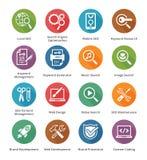 SEO & internetmarknadsföringssymboler - uppsättning 1 | Lång skuggaserie Arkivfoton