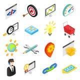 Seo isometric 3d icons set Royalty Free Stock Photos
