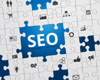 SEO Jigsaw Puzzle Icons. Search Engine Optimization - SEO - Jigsaw Puzzle and Icons Royalty Free Stock Photography
