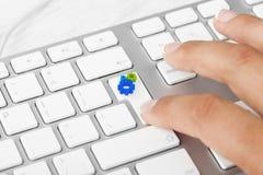 SEO key. Woman Hand pushing SEO keyboard button Royalty Free Stock Image