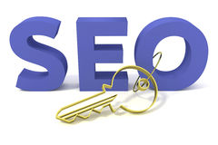 SEO keyring. To have the key to understand everything about this field Royalty Free Stock Photo