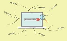 Seo keyword brainstorming with laptop and brain storming map vector illustration
