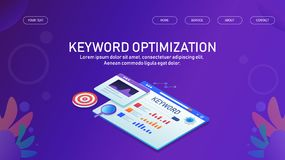 Seo, keyword optimization, keyword reseach, meta data analysis, search engine optimization. Modern concept of search engine optimization and keyword research vector illustration