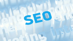 SEO keywords. 3d image with dof Stock Photography