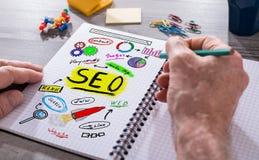Seo-Konzept auf einem Notizblock Lizenzfreies Stockbild