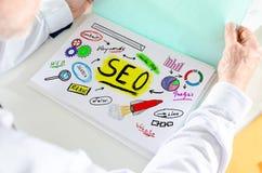 Seo-Konzept auf einem Papier Stockbild