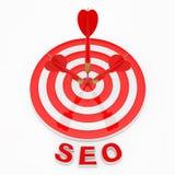 SEO Konzept SEO Sign nahe den Pfeilen, die das Ziel schlagen renderin 3D Lizenzfreie Stockfotografie