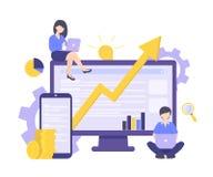 SEO, la crescita di affari, investono i soldi, concetto di promozione di Internet illustrazione di stock