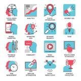 Seo lançant la ligne sur le marché plate icônes Photographie stock libre de droits