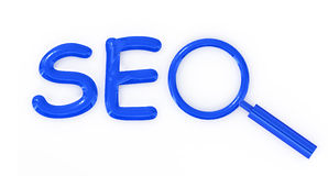 SEO letter sign with magnifier Stock Photography