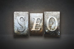SEO Letterpress Concept. The letters SEO Search Engine Optimization written in vintage letterpress type royalty free stock photography