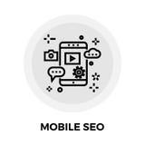SEO Line Icon móvil Imagen de archivo libre de regalías