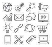SEO Line Icons Lizenzfreie Stockfotografie