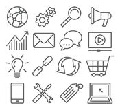 SEO Line Icons Royalty Free Stock Photography