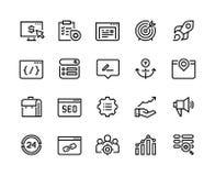 SEO Line Icons Página web de la estrategia de la blanco de los medios del análisis de red de la tendencia del negocio de la web a ilustración del vector
