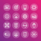 Seo line icons set, search engine optimization Royalty Free Stock Photography