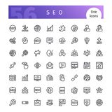 SEO Line Icons Set. Set of 56 SEO line icons suitable for web, infographics and apps. Search engine business optimization. Isolated on white background. Clipping royalty free illustration