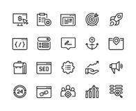 SEO line icons. Web business trend network analysis media target strategy website analytic. Search engine optimization. Vector infographic set vector illustration