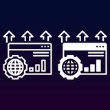 SEO-Linie und feste Ikone, Entwurf und gefülltes Vektorzeichen-, lineares und vollespiktogramm lokalisiert auf Weiß Stockfoto