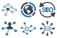Seo Link Building Flat Glyph Icons. Seo Link Building glyph icons. Icon style is bicolor smooth blue flat symbols with rounded angles on a white background Royalty Free Stock Photos