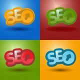 SEO-logo i olik färg 4 Arkivbilder