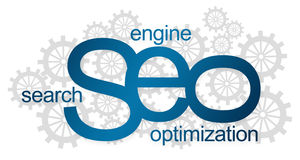 SEO Logotype With Gears Fotografie Stock