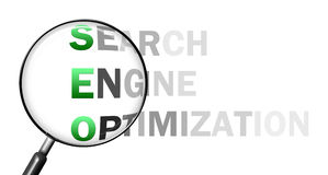 Seo through loupe. (letters with magnifier on white background Royalty Free Stock Photography