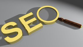 SEO with magnifier Royalty Free Stock Photo