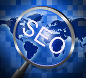 Seo Magnifier Indicates Websites Searching And Web Royalty Free Stock Photo