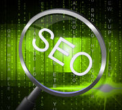 Seo Magnifier Shows Searches Website And Optimize. Seo Magnifier Indicating Engine Magnifying And Websites Stock Photos