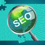 Seo Magnifier Shows Websites Magnifying And Website. Seo Magnifier Meaning Research Search And Searches Stock Image