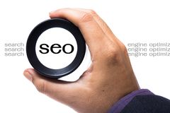 SEO magnifying Royalty Free Stock Photography