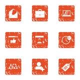 Seo mail icons set, grunge style. Seo mail icons set. Grunge set of 9 seo mail vector icons for web isolated on white background Stock Photography