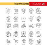 SEO Marketing Black Line Icon - insieme dell'icona del profilo di 25 affari illustrazione di stock