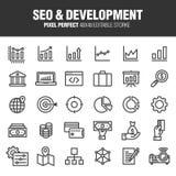 SEO & DEVELOPMENT ICON SET stock illustration