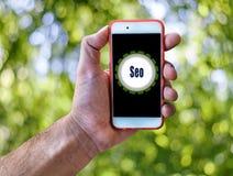 Seo Marketing Concept Hand hållande mobil på abstrakt begreppgräsplanbakgrund Royaltyfri Fotografi
