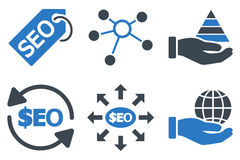Seo Marketing Flat Glyph Icons Fotos de archivo
