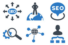 Seo Marketing Flat Glyph Icons. Seo Marketing glyph icons. Icon style is bicolor smooth blue flat symbols with rounded angles on a white background Stock Photos