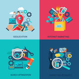 Seo Marketing Flat Icons Photographie stock