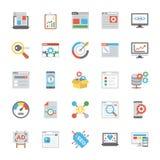 SEO and Marketing Flat Icons stock illustration