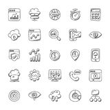 Collection of Seo and Marketing Doodle Icons. SEO and marketing have become so interlinked in today's market that they go hand in hand in all kind of Royalty Free Stock Photo