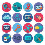 Seo Marketing Icons Flat Photographie stock libre de droits